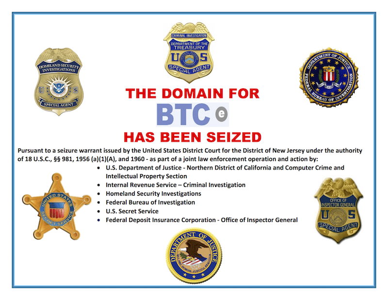 BTC-e domain claimed to be seized by the US government