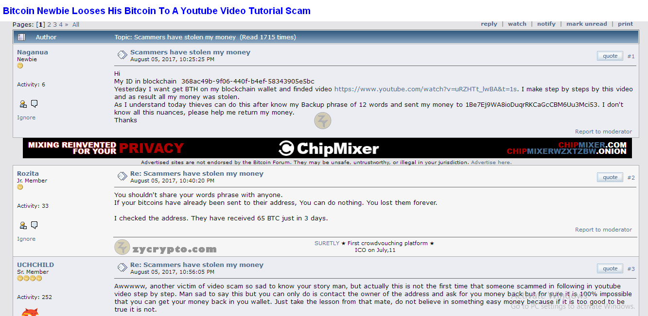 bitcoin user gets scammed from a youtube video scam