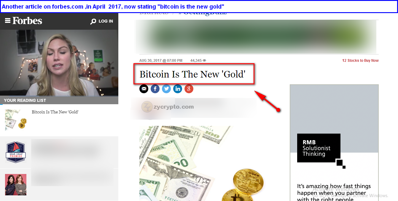 an article on forbes.com , stating that bitcoin is the new Gold