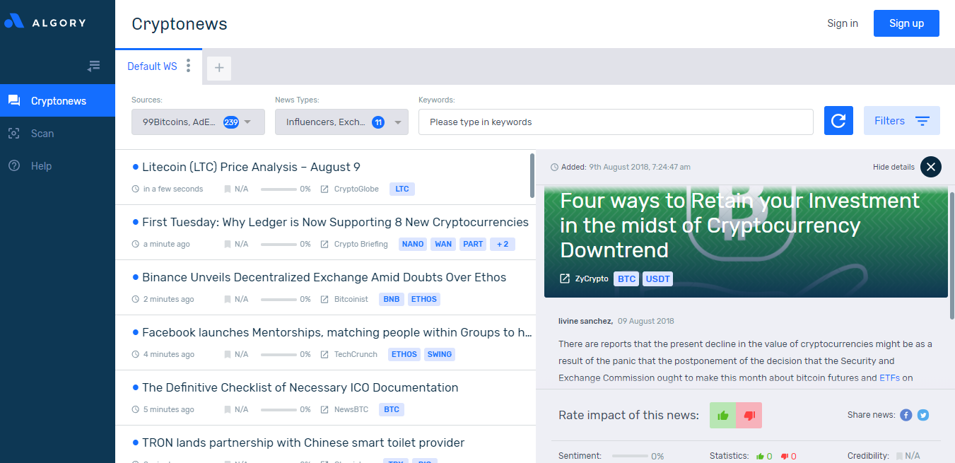 Cryptocurrency News Aggregator from the world of cryptocurrencies has been launched