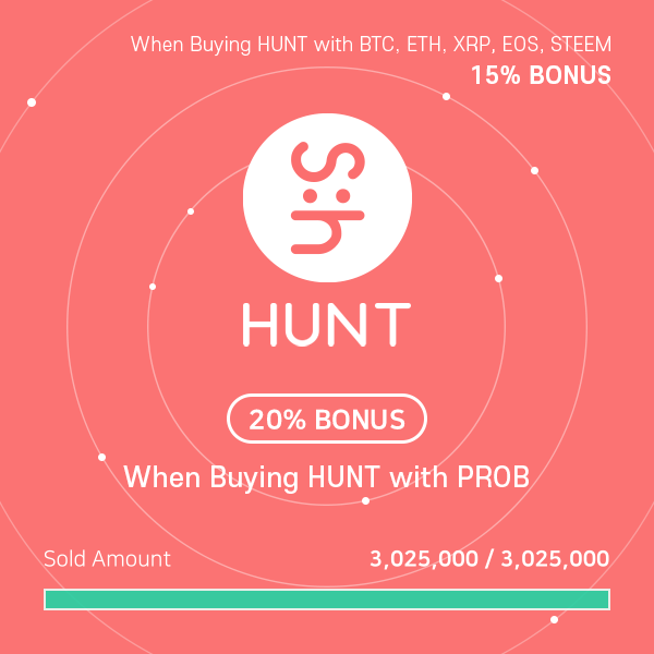 Steemhunt IEO Round 1 Sold Out in 11 seconds on ProBit Exchange