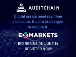 Auditchain, the developer of the world's first decentralized financial reporting system is partnering with ExMarkets