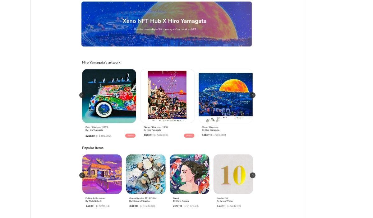 XENO starts VIP NFT trading service and collaborates with contemporary artist Hiro Yamagata