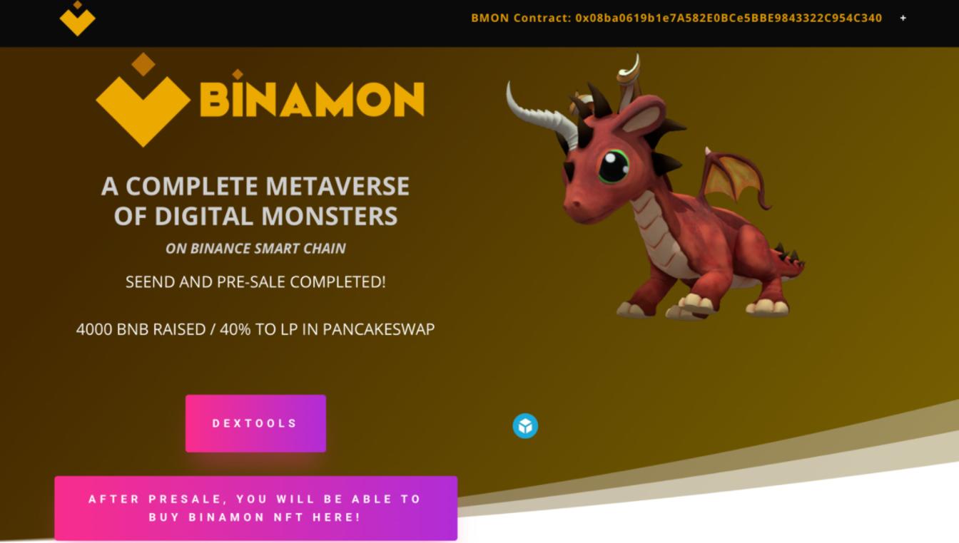 Binamon's Monster Metaverse Tops ERC-721 Transactions List on Binance Smart Chain (BSC)